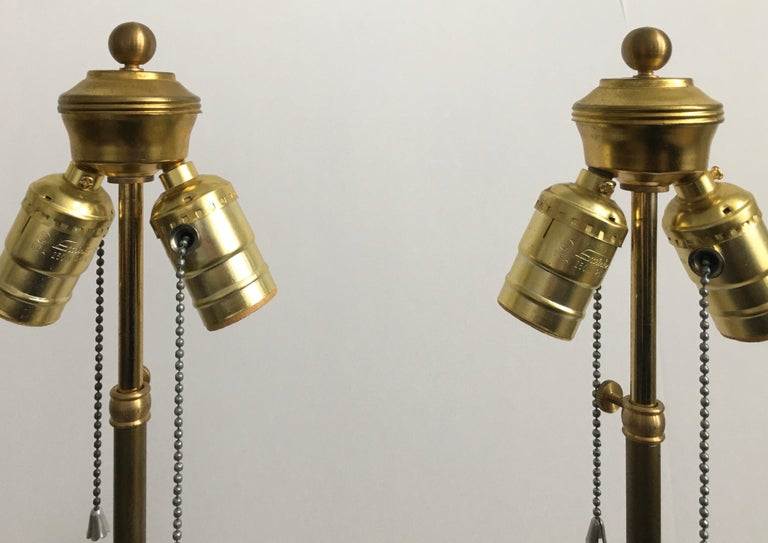 French Neoclassical Style Carved Silver Giltwood and Marble Draped Urn Lamps For Sale 11