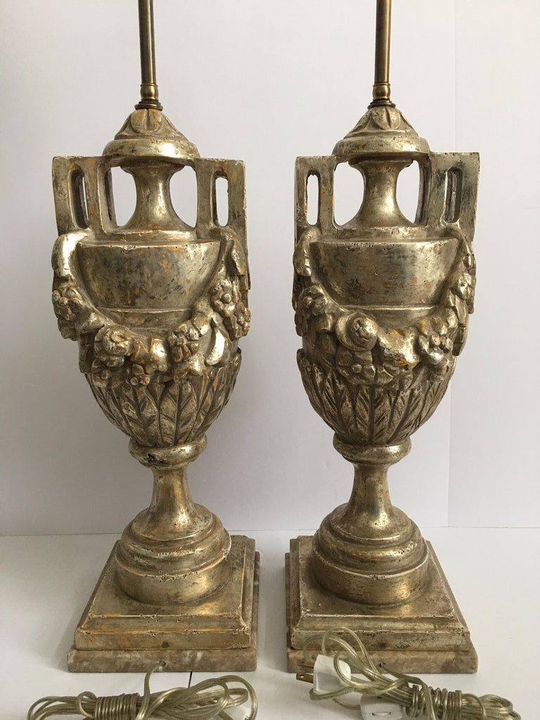 European French Neoclassical Style Carved Silver Giltwood and Marble Draped Urn Lamps For Sale
