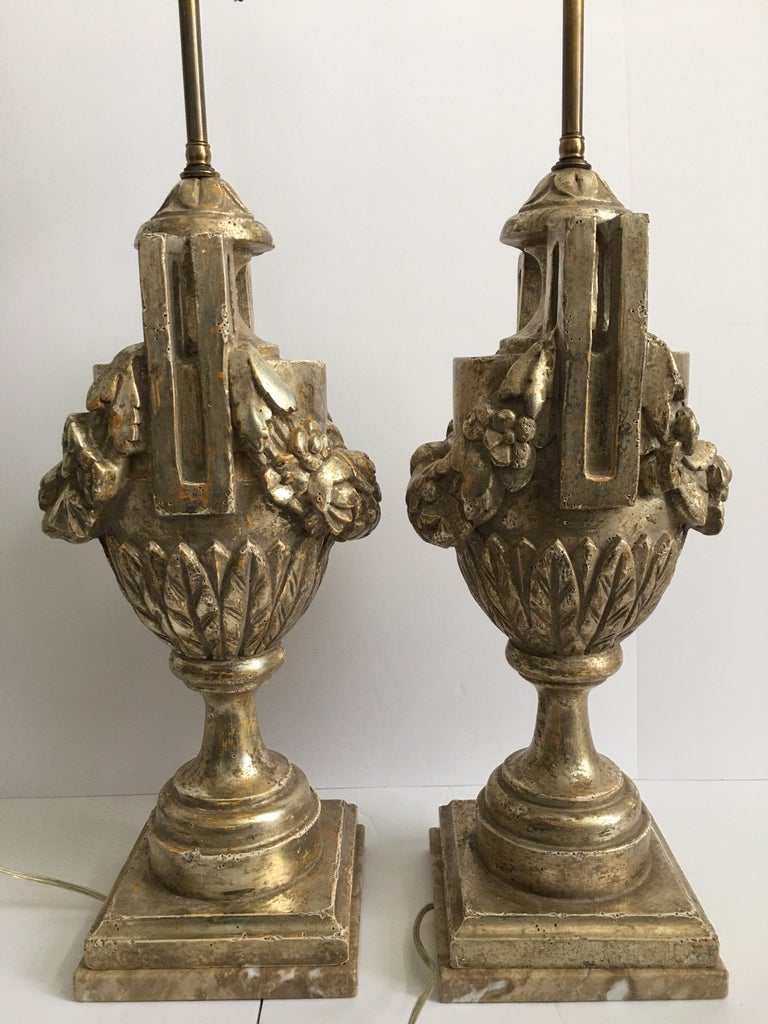French Neoclassical Style Carved Silver Giltwood and Marble Draped Urn Lamps In Good Condition For Sale In Lambertville, NJ