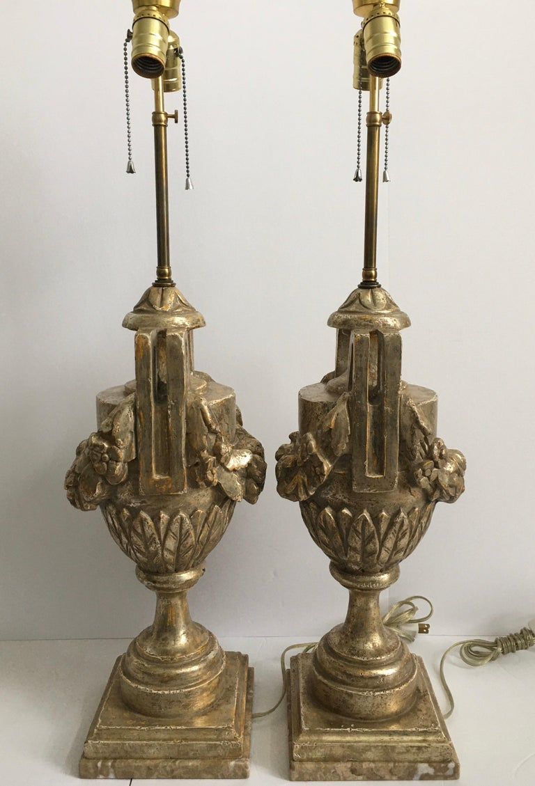 20th Century French Neoclassical Style Carved Silver Giltwood and Marble Draped Urn Lamps For Sale