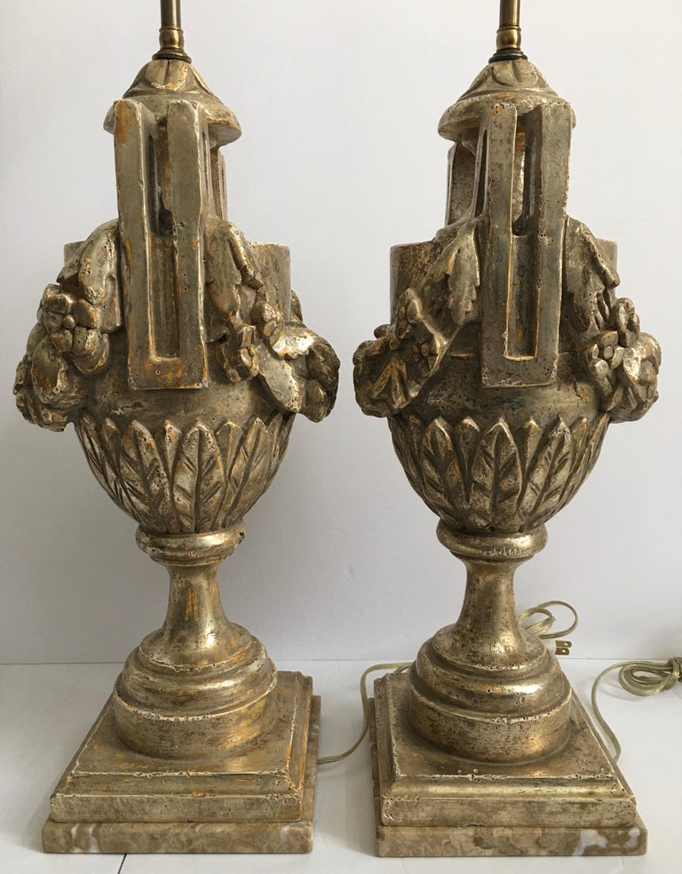 French Neoclassical Style Carved Silver Giltwood and Marble Draped Urn Lamps For Sale 1