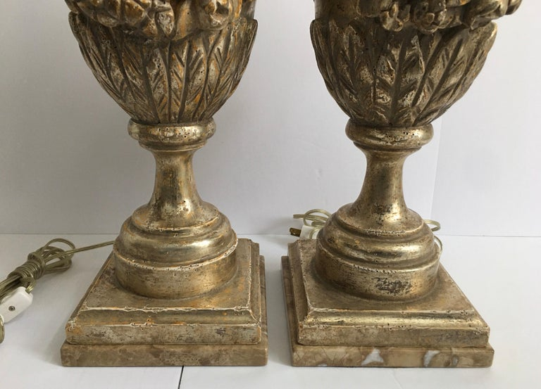 French Neoclassical Style Carved Silver Giltwood and Marble Draped Urn Lamps For Sale 3