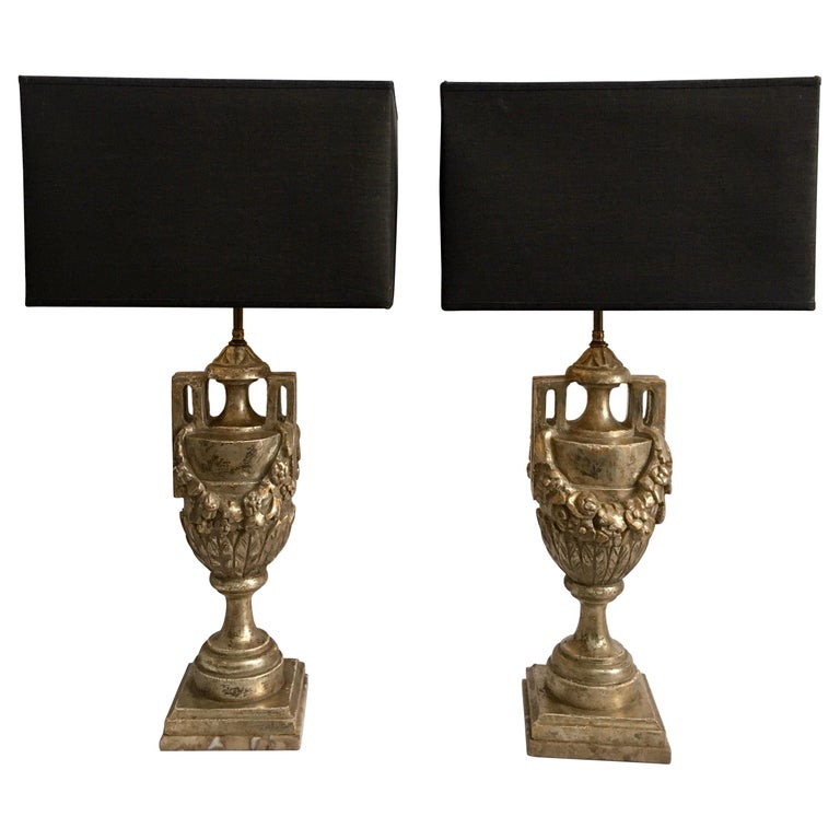 French Neoclassical Style Carved Silver Giltwood and Marble Draped Urn Lamps For Sale