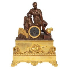 French Neoclassical Style Dore Bronze Figural Mantel Clock