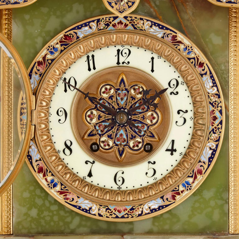 Champlevé French Neoclassical Style Enamel, Onyx, and Gilt Bronze Pedestal Clock For Sale