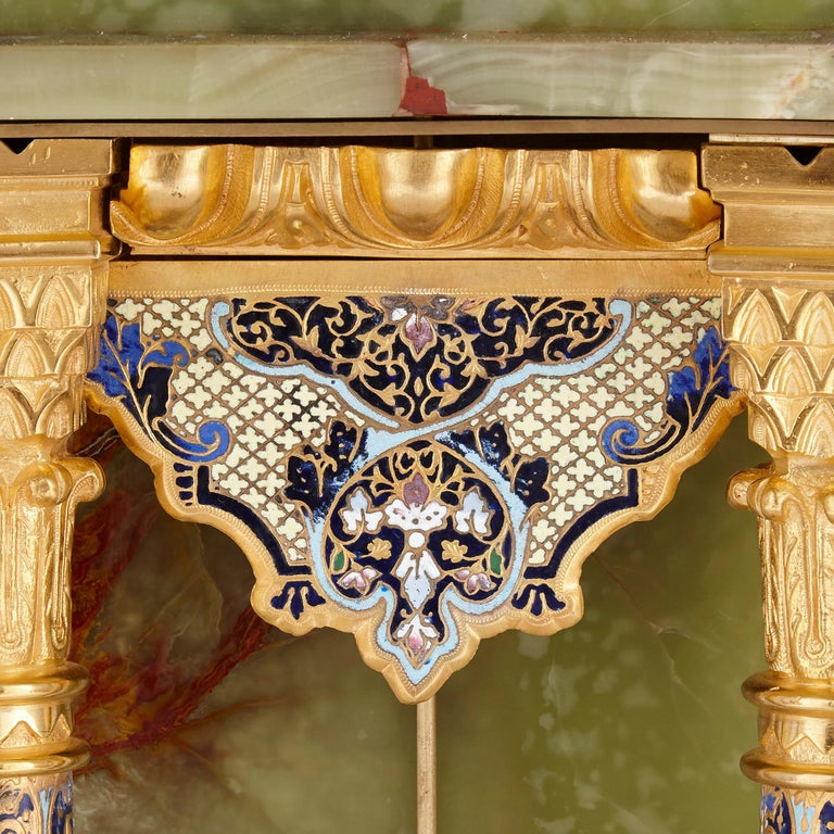 19th Century French Neoclassical Style Enamel, Onyx, and Gilt Bronze Pedestal Clock For Sale