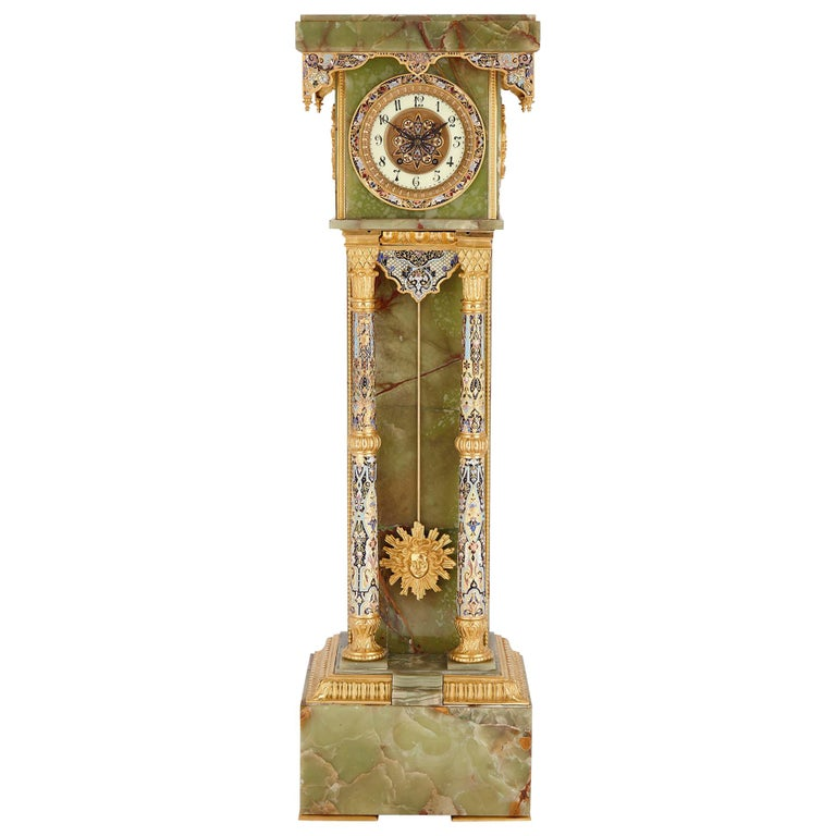 French Neoclassical Style Enamel, Onyx, and Gilt Bronze Pedestal Clock For Sale