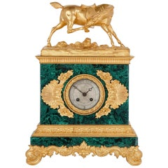 French Neoclassical Style Gilt Bronze and Malachite Mantel Clock