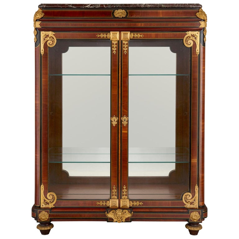 French Neoclassical Style Gilt Bronze Mounted Ebonized Wood Display Cabinet For Sale