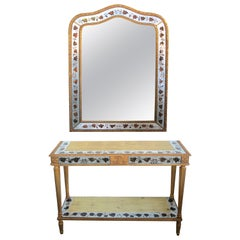 French Neoclassical Style/Hollywood Regency Églomisé Console Table and Mirror