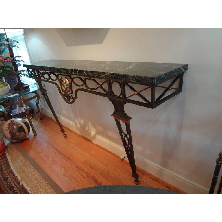 French Neoclassical Style Iron Console Table After Gilbert Poillerat In Good Condition For Sale In Houston, TX