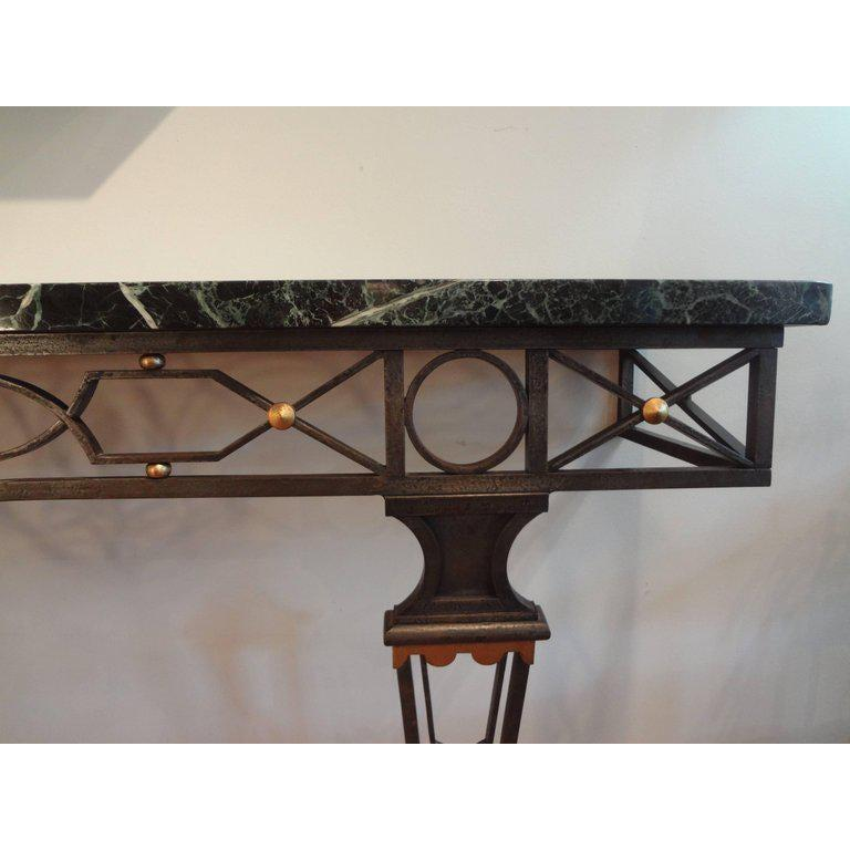 Mid-20th Century French Neoclassical Style Iron Console Table After Gilbert Poillerat For Sale