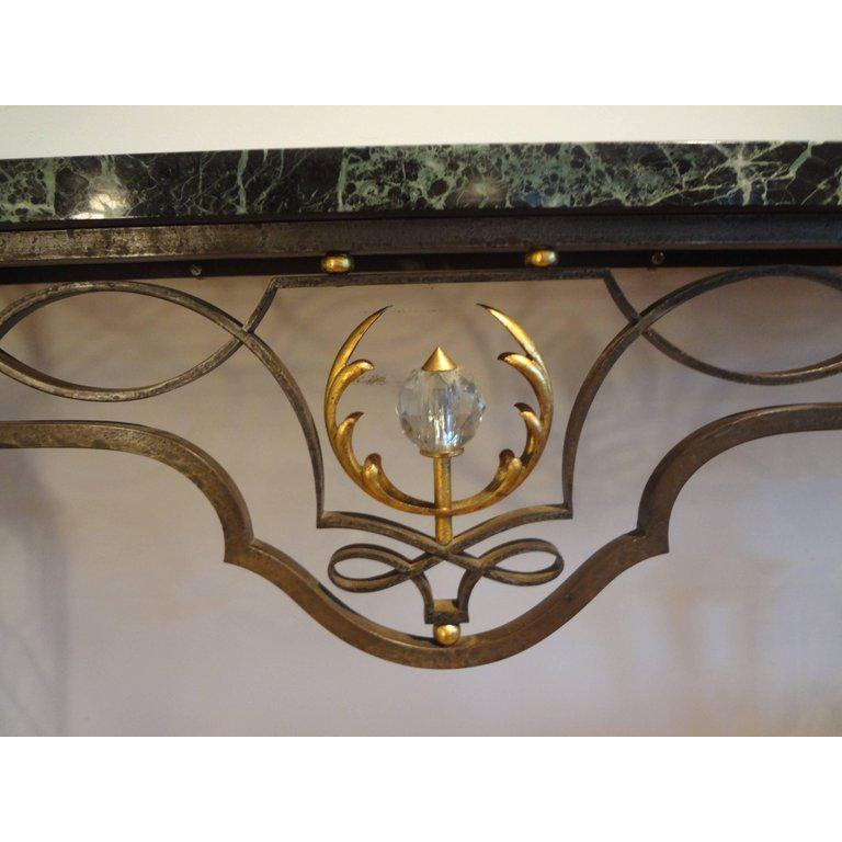 Wrought Iron French Neoclassical Style Iron Console Table After Gilbert Poillerat For Sale