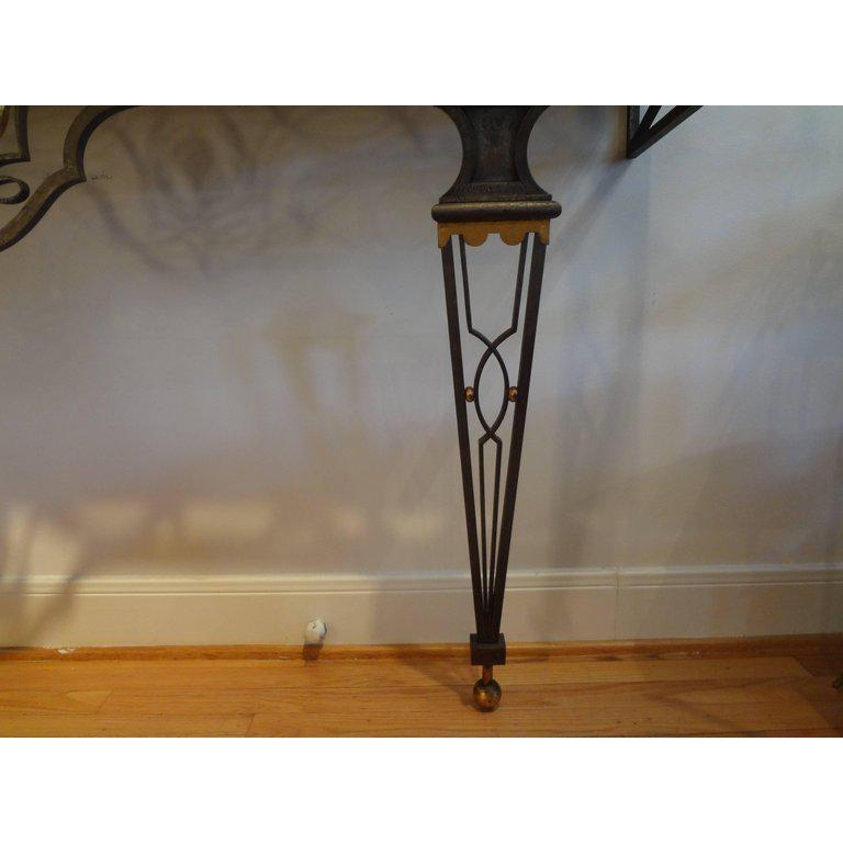 French Neoclassical Style Iron Console Table After Gilbert Poillerat For Sale 1
