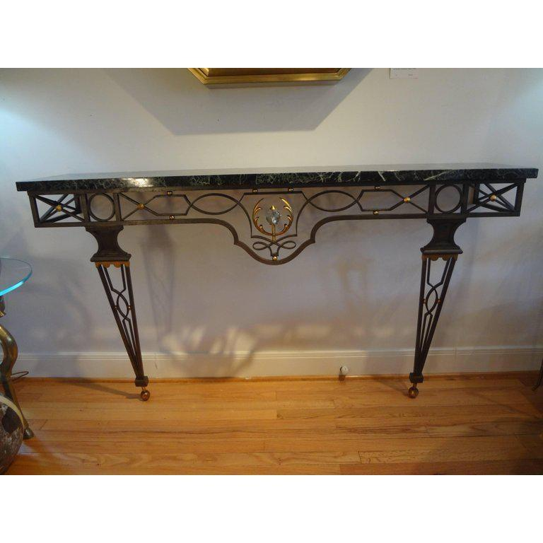 French Neoclassical Style Iron Console Table After Gilbert Poillerat For Sale 3