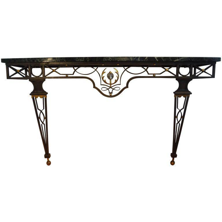 French Neoclassical Style Iron Console Table After Gilbert Poillerat For Sale 4