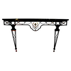 French Neoclassical Style Iron Console Table after Gilbert Poillerat