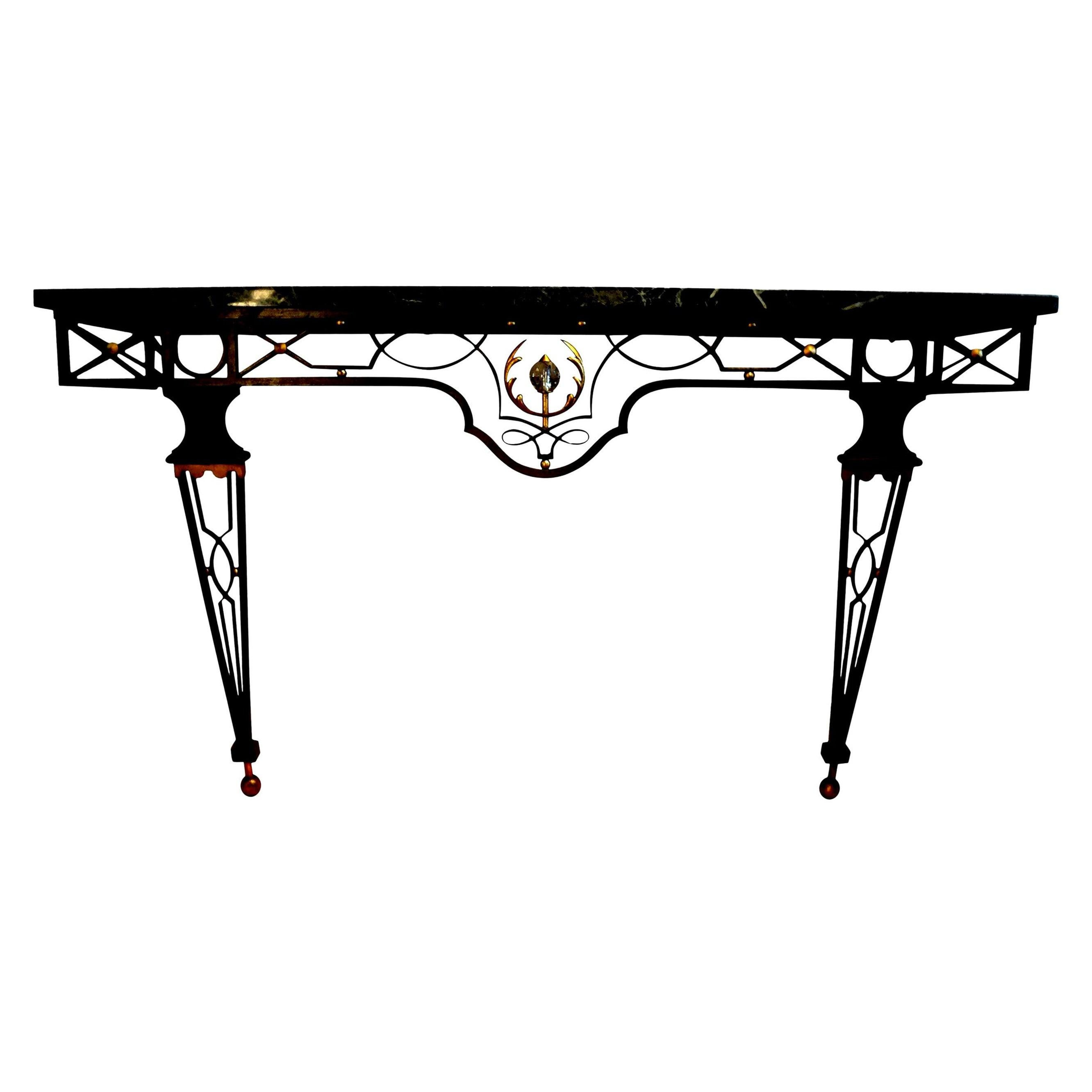 French Neoclassical Gilbert Poillerat Style Wrought Iron Console Table