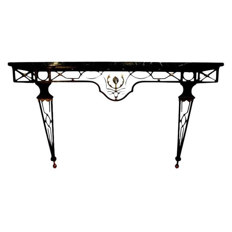French Neoclassical Style Iron Console Table After Gilbert Poillerat For Sale