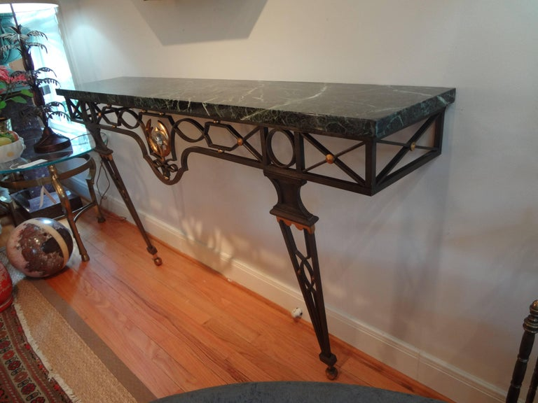 French Neoclassical Gilbert Poillerat Style Wrought Iron Console Table   In Good Condition For Sale In Houston, TX
