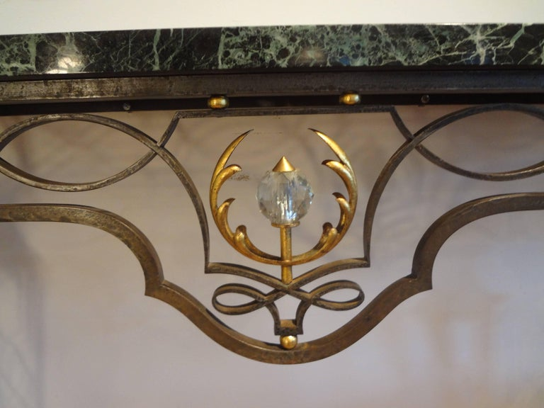 Mid-20th Century French Neoclassical Gilbert Poillerat Style Wrought Iron Console Table   For Sale