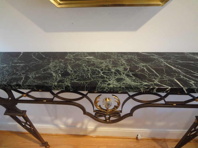 French Neoclassical Gilbert Poillerat Style Wrought Iron Console Table   For Sale 1