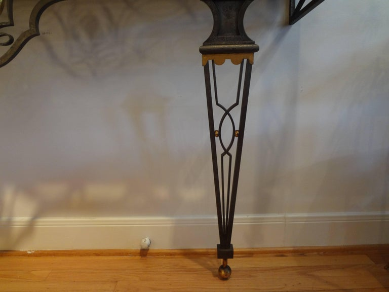 French Neoclassical Gilbert Poillerat Style Wrought Iron Console Table   For Sale 2