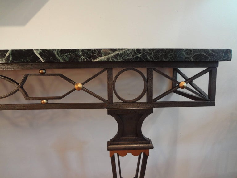 French Neoclassical Gilbert Poillerat Style Wrought Iron Console Table   For Sale 3