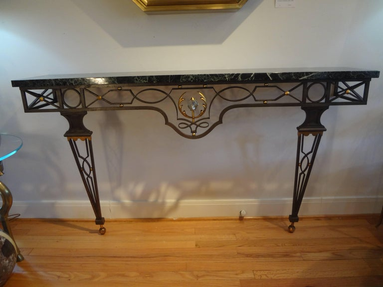 French Neoclassical Gilbert Poillerat Style Wrought Iron Console Table   For Sale 5