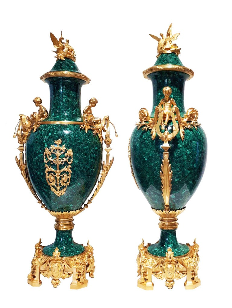 20th Century French Neoclassical Style Pair of Malachite and Ormolu Vases For Sale