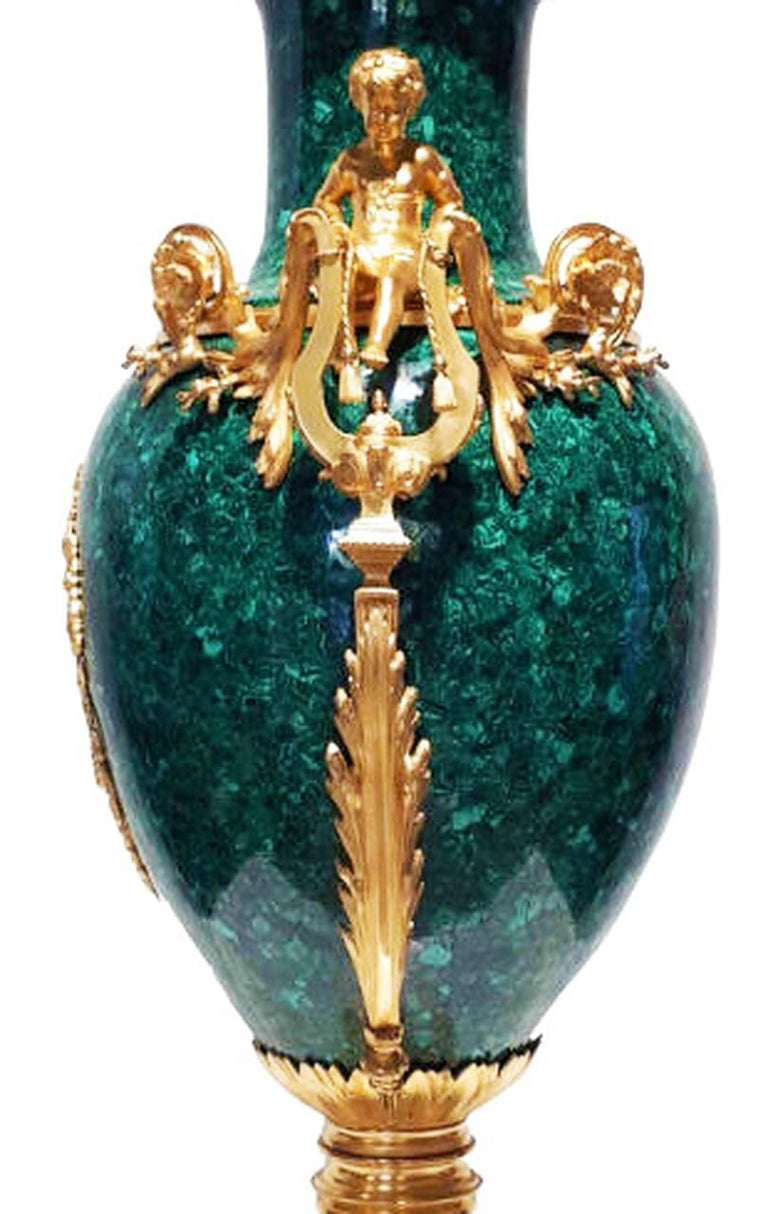 French Neoclassical Style Pair of Malachite and Ormolu Vases For Sale 2