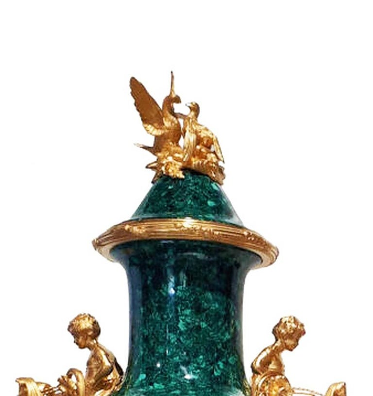 French Neoclassical Style Pair of Malachite and Ormolu Vases For Sale 3