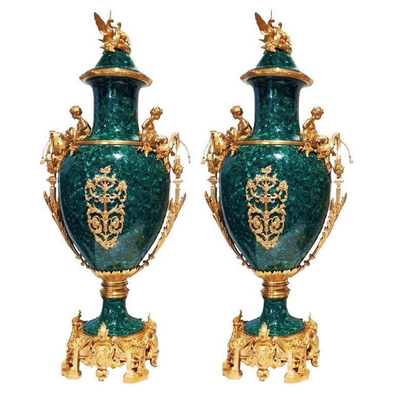 French Neoclassical Style Pair of Malachite and Ormolu Vases For Sale