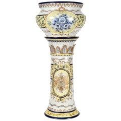 Französischen neoklassischen Stil Porzellan Pflanze Stand mit Cache-Topf-Set
