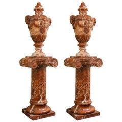 French Neoclassical Style Red Marble Lidded Vases with Rams Head on Pedestals