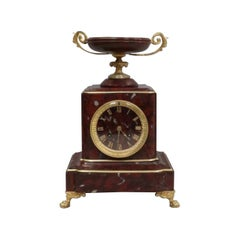 French Neoclassical Style Rouge Marble Mantel Clock by Japy Freres