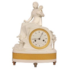 French Neoclassical Style Sevres Bisque Clock Signed Guyon a Lyon