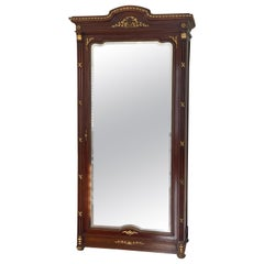 French Neoclassical Style Tall Mirrored Cabinet/Armoire