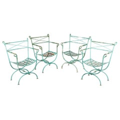 French Neoclassical Style Verdigris Iron Garden Chairs, Set of 4