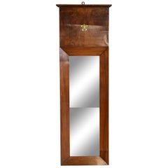 French Neoclassical Tall and Slender Walnut Mirror, circa 1830