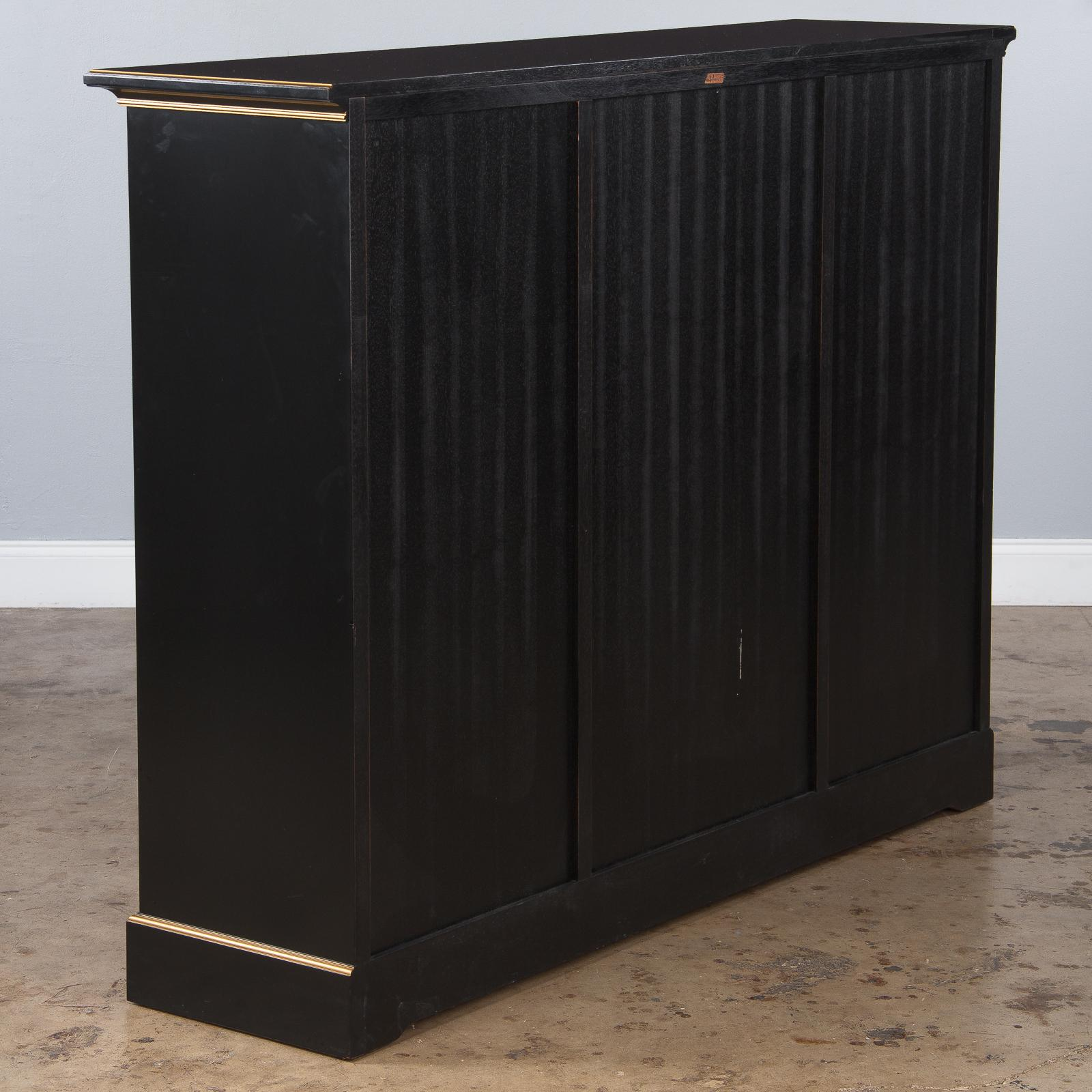 French Neoclassical Varnished Ebony Cabinet By Maurice Hirsch, 1950s