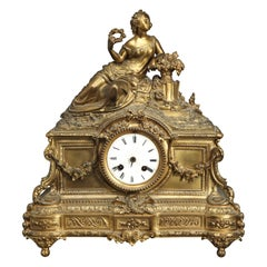 French Neoclassical Vinventi and Cie Bronze Mantel Clock