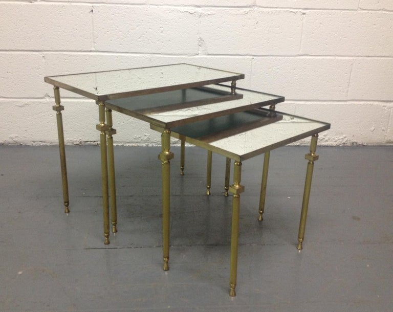 Mid-20th Century French, Nesting Tables by Maison Baguès For Sale