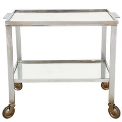 French Nickel Bar Cart, Attributed to Jacques Adnet