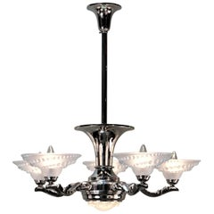 French Nickel on Bronze Art Deco Chandelier
