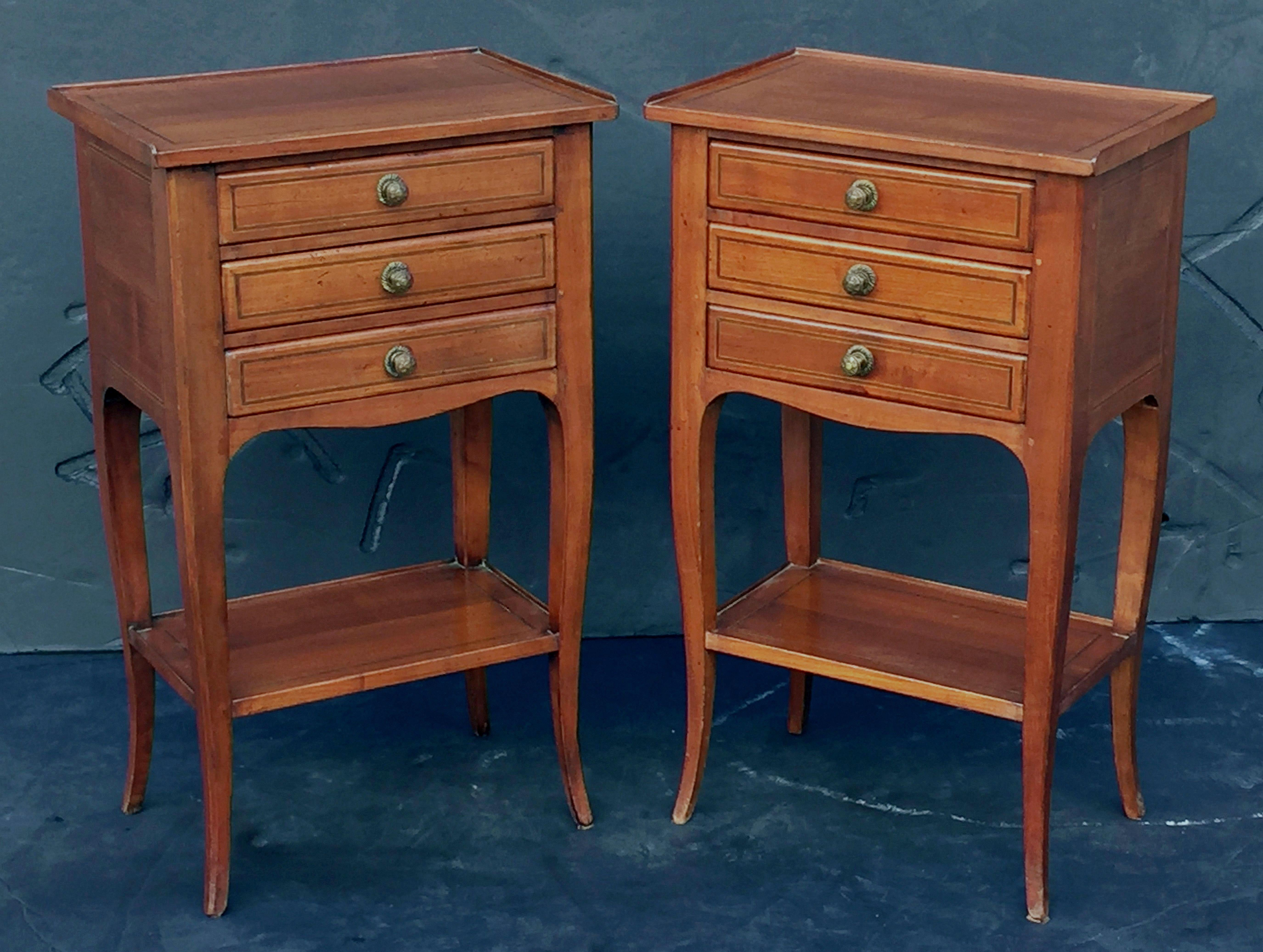 French Nightstands Or Side Tables Of Chestnut Priced As A Pair