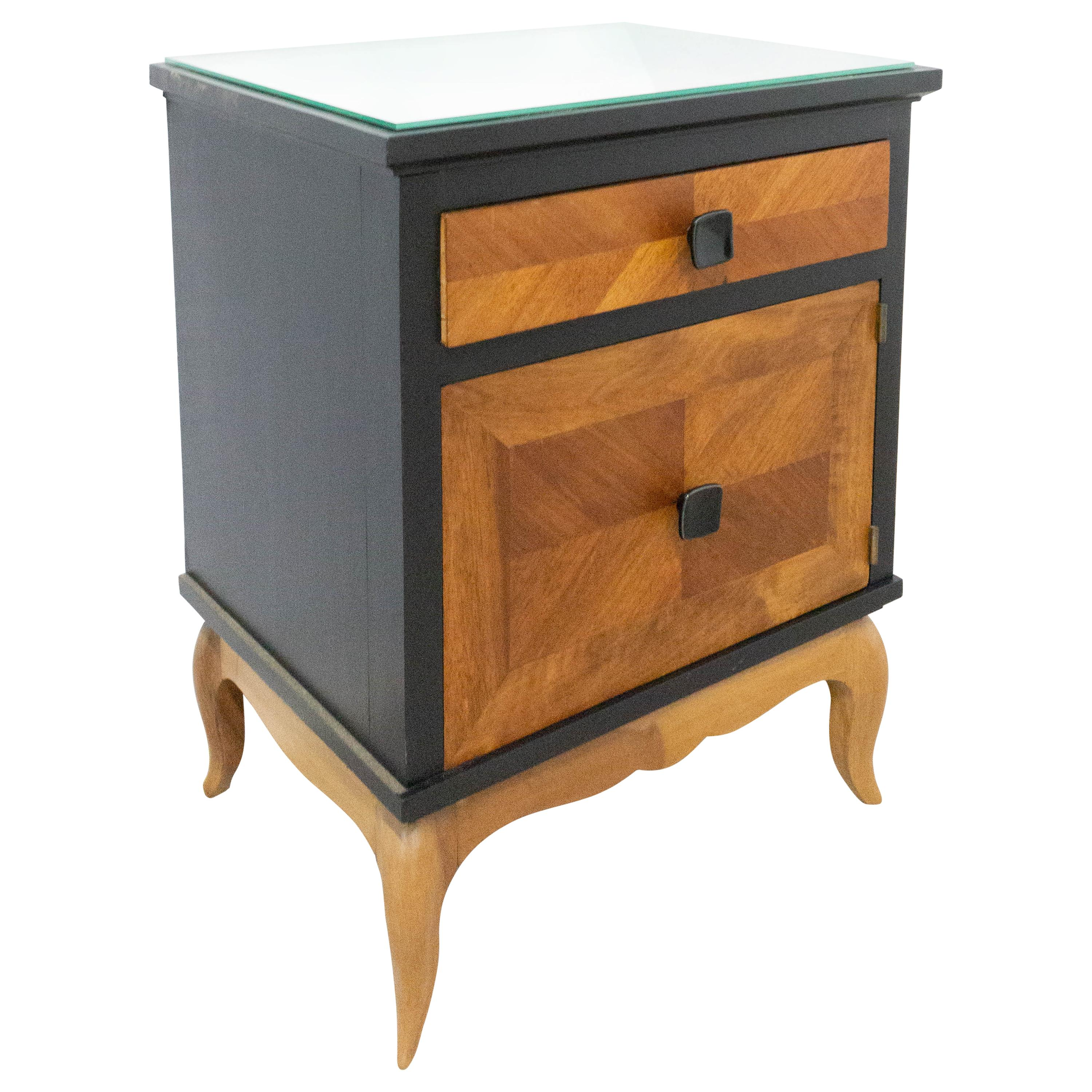 French Nightstand Side Cabinet Bedside Table Two-Toned Black and Cherrywood,1960