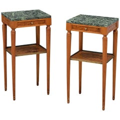 French Nightstands or Bedside Tables with Marble Tops, Individually Priced