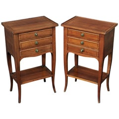 French Nightstands or Side Tables of Chestnut 'Priced as a Pair'
