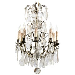 French Nine-Light Crystal and Brass Chandelier with Pendeloques, circa 1900